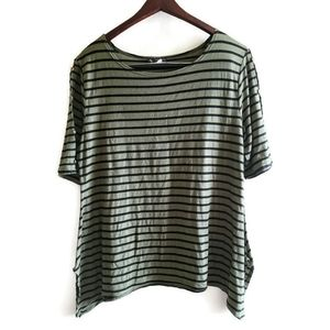 Women's 3x Olive Stripped Asymmetrical Hem Top